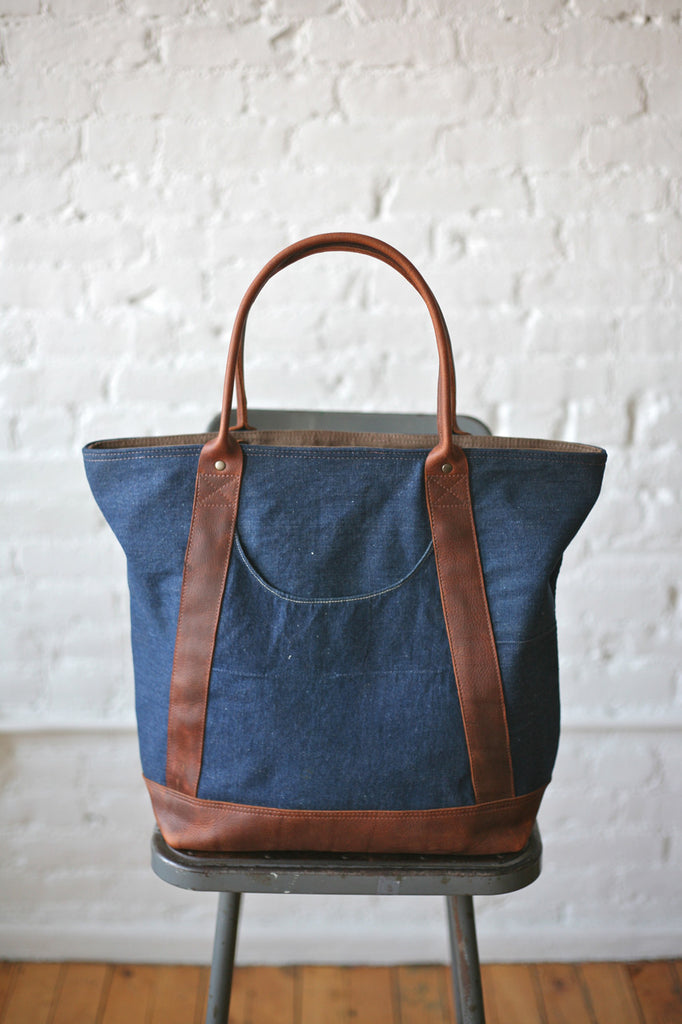 1940s era Denim & Leather Carryall