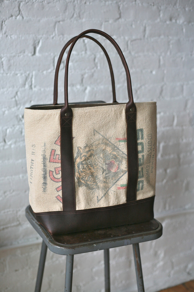 1940's era Grain Sack and Leather Carryall