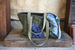 WWII era Canvas & Printed Cotton Carryall - SOLD