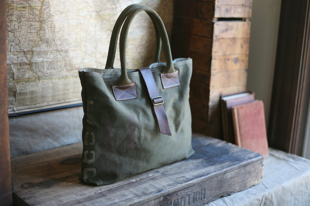26224cacc7 WWII era Canvas   Leather Tote Bag - SOLD - FORESTBOUND