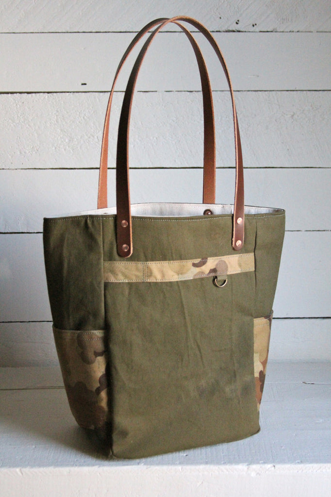 WWII era Canvas & Cloud Camo Pocket Tote