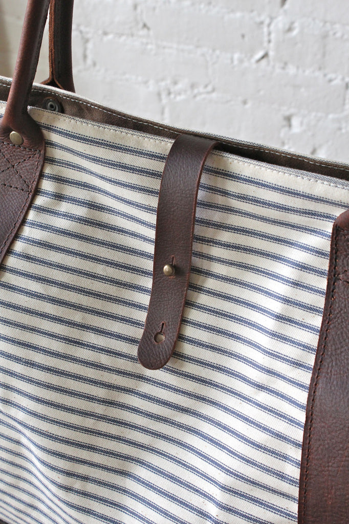 1950's era Ticking Fabric Weekender