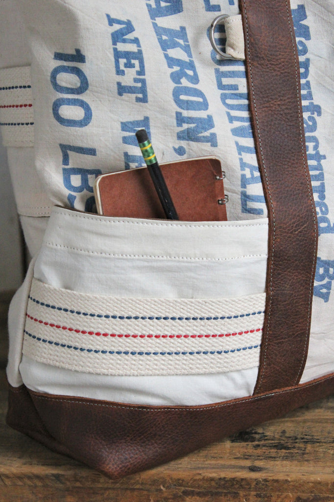 Extra Large 1950's era Salt Bag Carryall