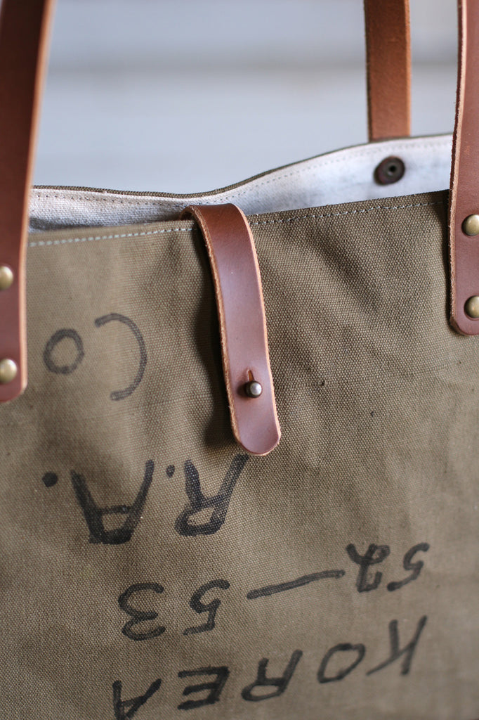 1950's era Military Canvas Tote Bag
