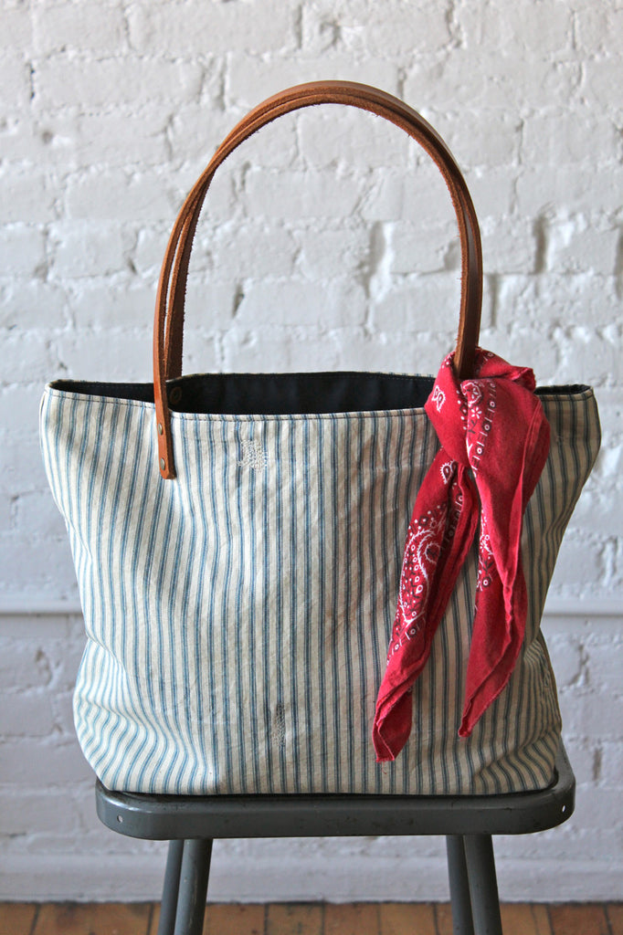 1940's era Ticking Fabric Tote Bag