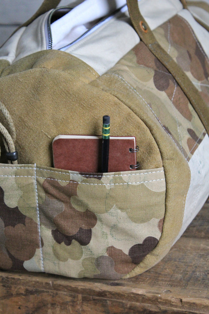 1940's era Canvas & Camo Duffle Bag