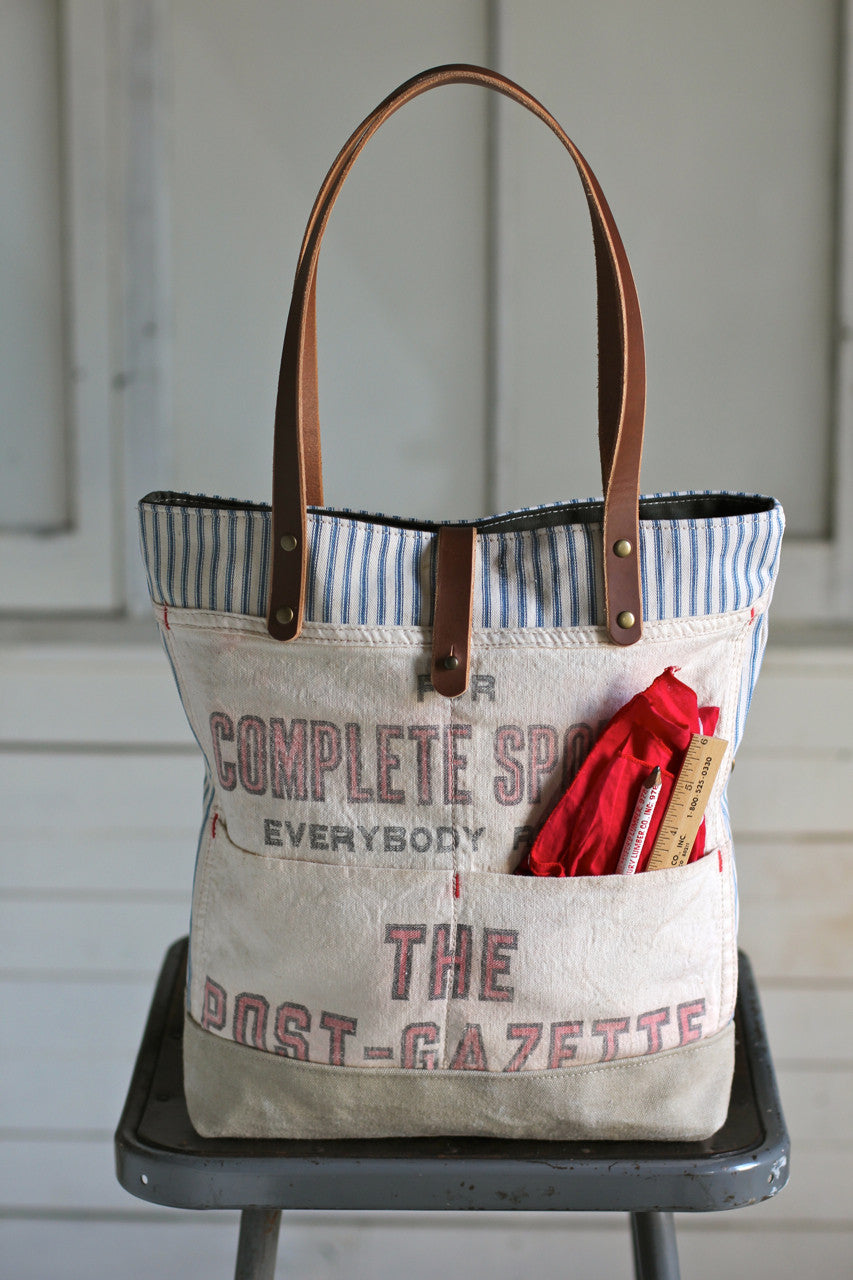 04d18386c 1950's era Ticking Fabric and Work Apron Tote Bag - FORESTBOUND