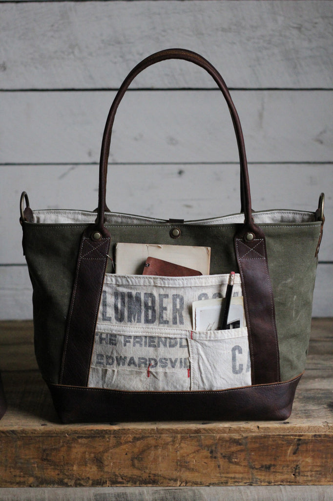 WWII era Canvas & Lumber Apron Weekend Bag