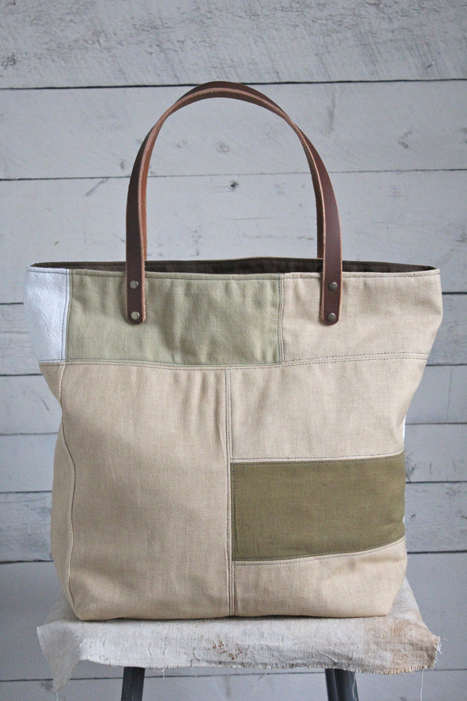 1940's-1950's era Pieced Feed Sack Canvas Tote Bag