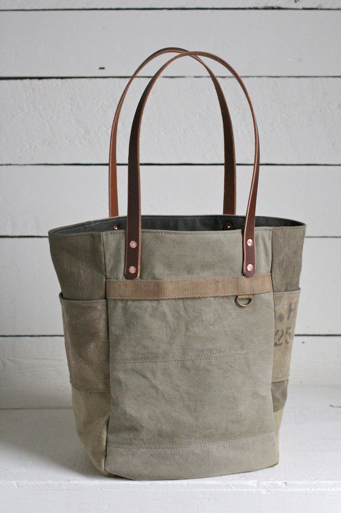 WWII era Canvas Pocket Tote Bag