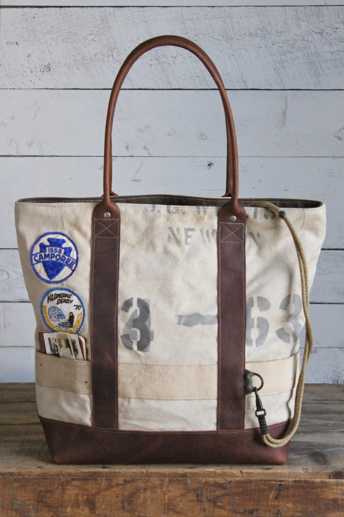1930's era Canvas and Leather Carryall
