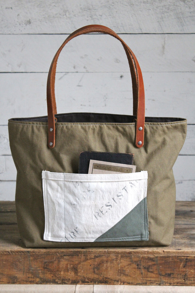 WWII era Military Canvas Pocket Tote Bag