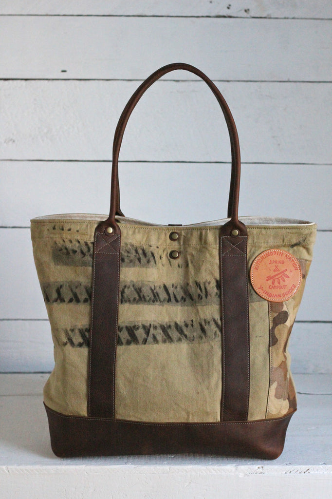 WWII era Canvas & Cloud Camo Carryall