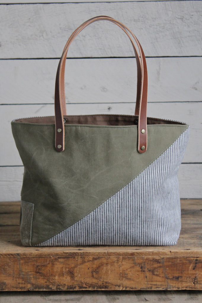 WWII era Canvas & 1950's era Striped Cotton Tote Bag