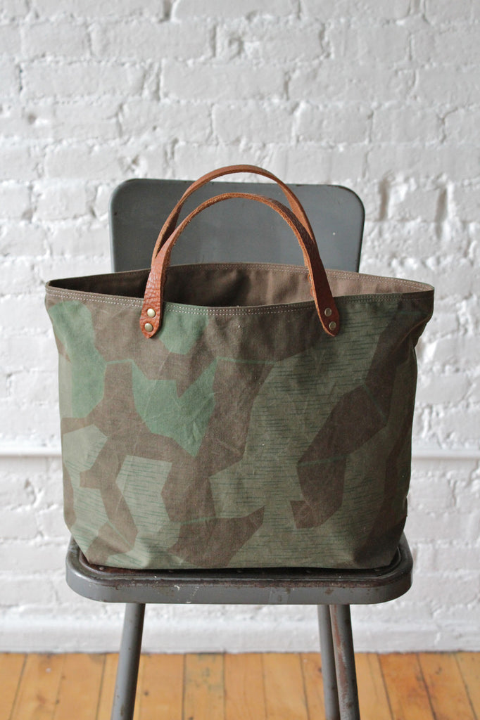 WWII era Swiss Camo & Work Apron Tote Bag