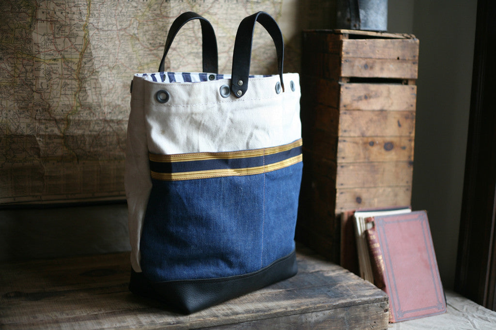 WWII era Sea Bag, Denim & Antique Leather Carryall - SOLD