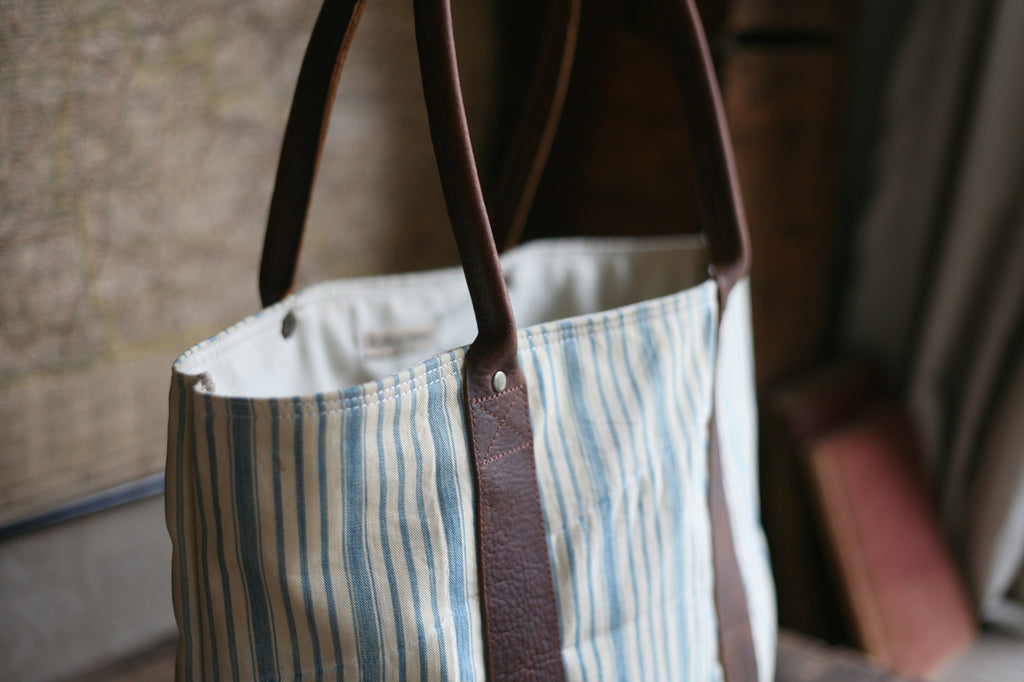 1930's era Ticking Fabric Carryall - SOLD