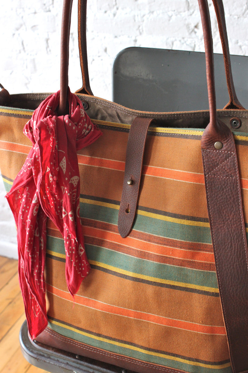 1940's era Striped Canvas Weekend Bag