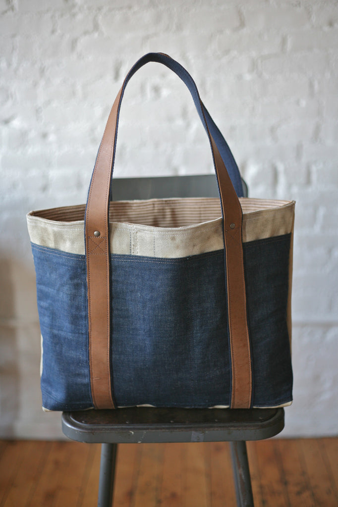 WWII era Canvas & 1950's era Denim Apron Carryall