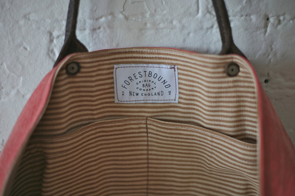 1950's era Cotton and Leather Carryall