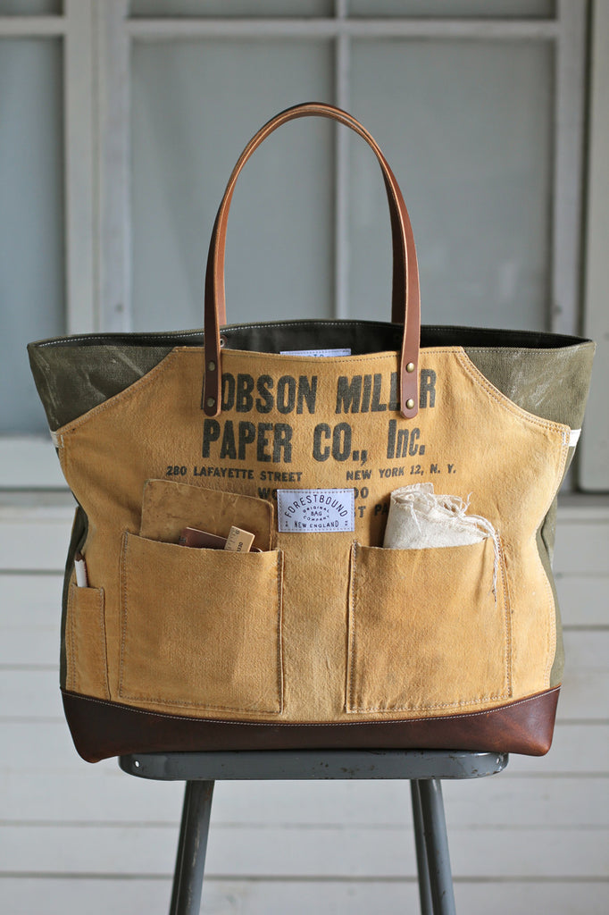 Extra Large WWII era Canvas and Work Apron Carryall