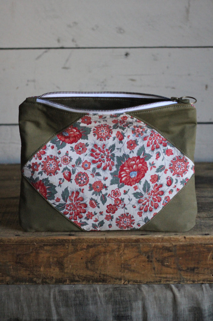 1930's era Floral Feedsack & WWII era Canvas Utility Pouch