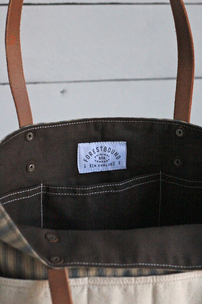 1950's era Ticking Fabric Pocket Tote Bag