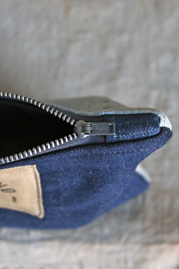 Early 1900's Japanese Indigo Dyed Cotton & WWII Era Denim Utility Pouch