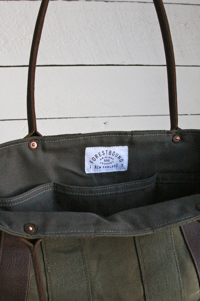 WWII era Canvas and Leather Carryall