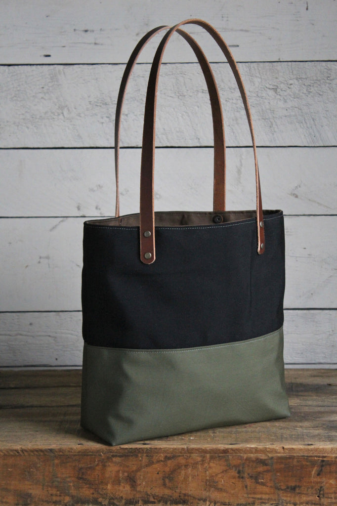 WWII era Color Blocked Canvas Tote Bag