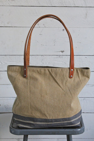 WWII era Pieced Canvas Tote Bag