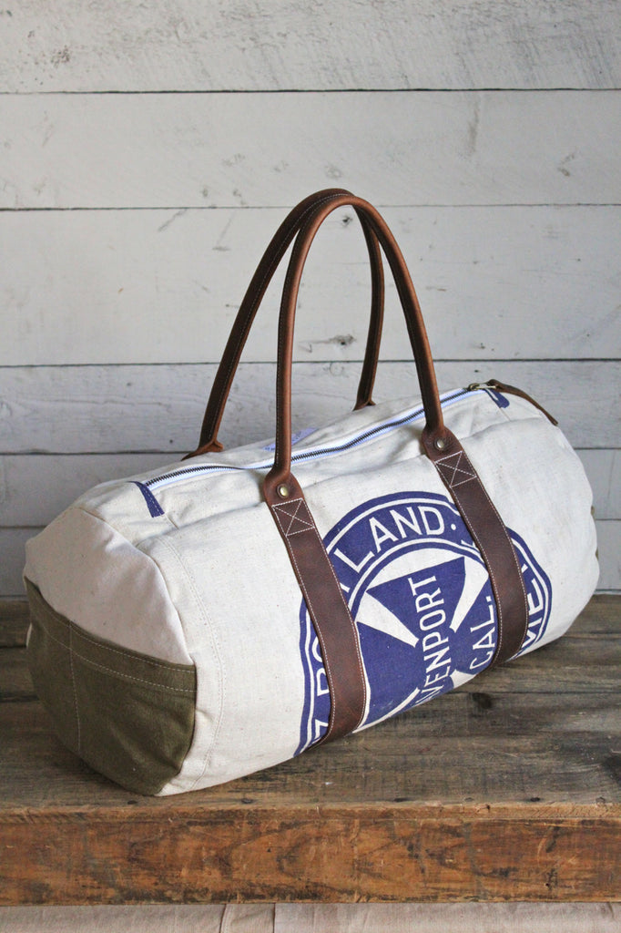 1940's era Canvas and Leather Duffle Bag