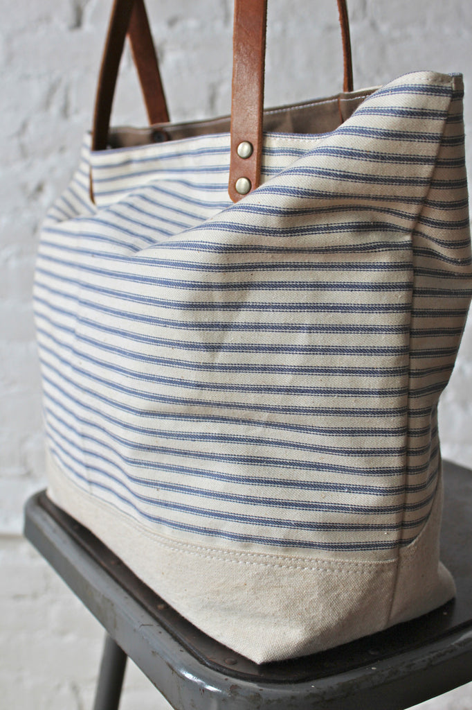 1940's era Ticking Fabric and Work Apron Tote Bag