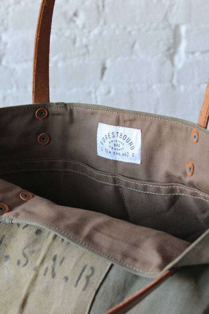 WWII era Two Tone US Military Canvas Tote Bag
