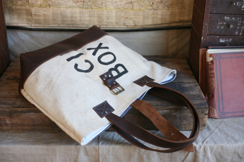 1940's era Canvas and Leather Carryall - SOLD