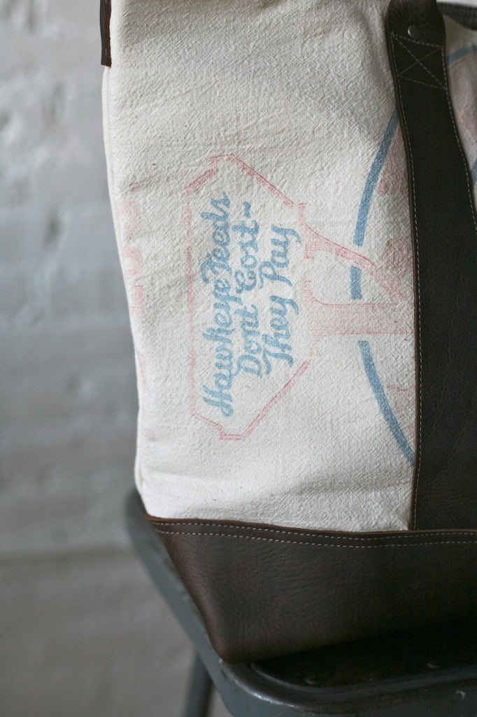 1940's era Feedsack Weekend Bag