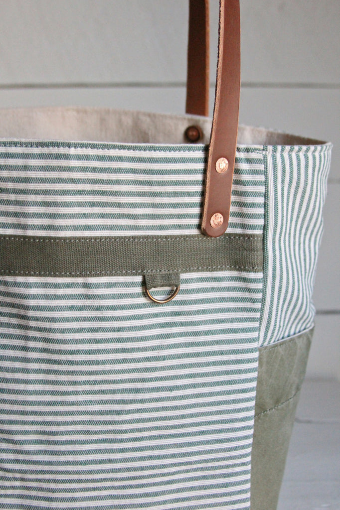 1950's era Ticking Fabric Pocket Tote