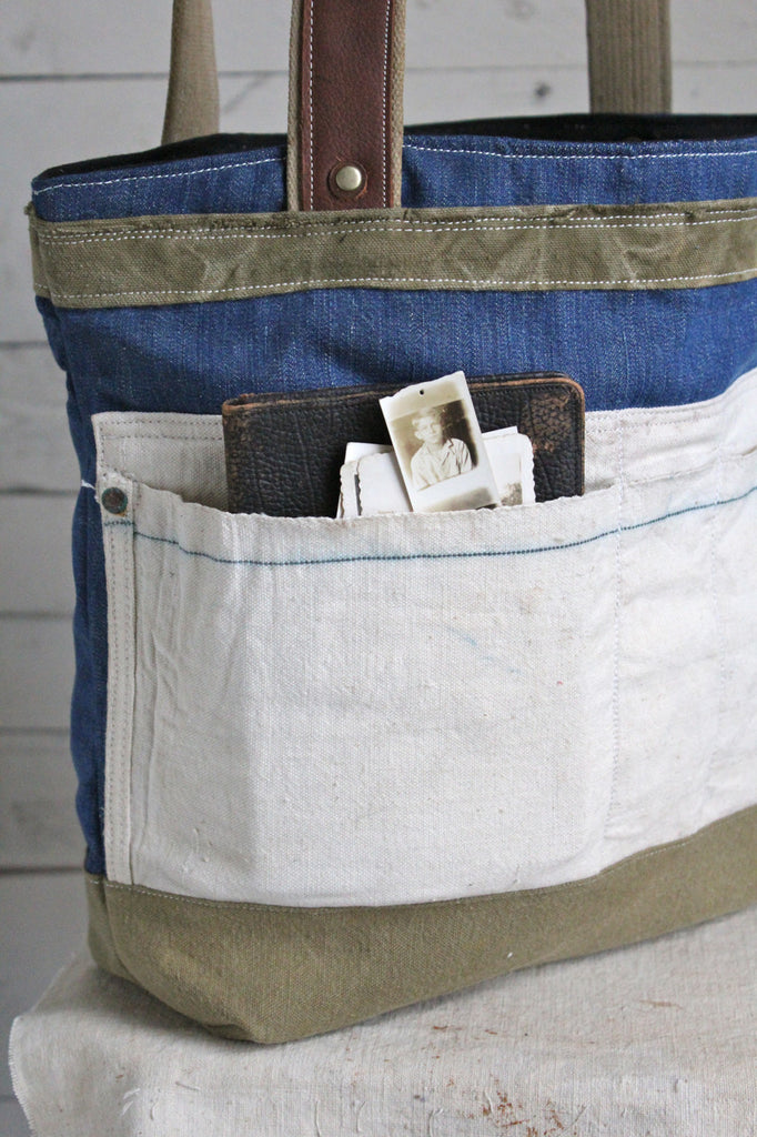 WWII era Denim & 1940's era Lumber Apron Carryall