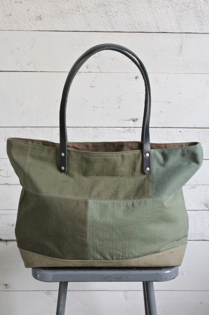 WWII era Pieced Military Canvas Tote Bag
