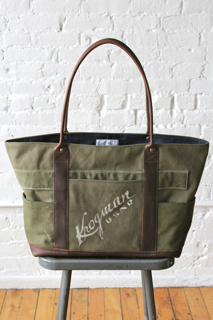 WWII era US Navy Canvas and Denim Carryall