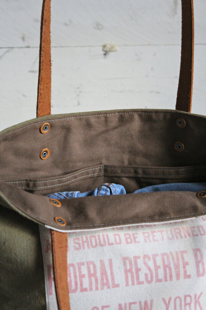 WWII era Canvas & Bank Bag Tote Bag