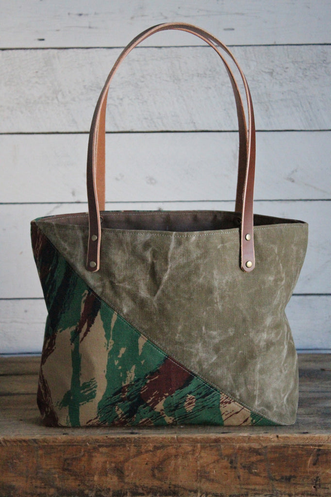WWII era Canvas & Lizard Pattern Camo Tote Bag