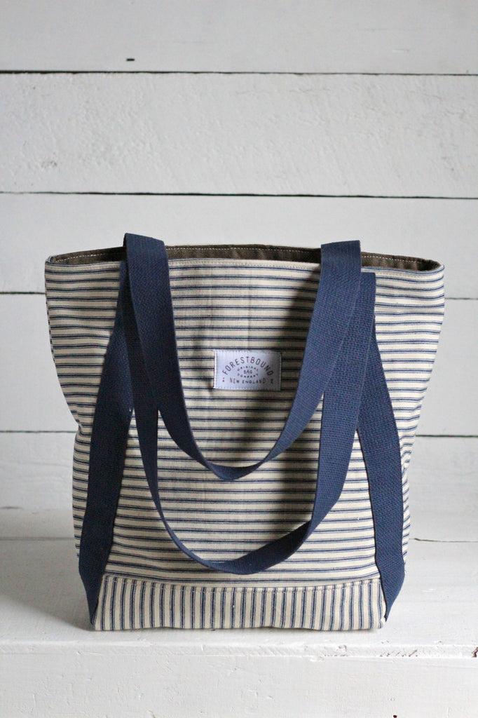 1950's era Ticking Fabric and Work Apron Carryall