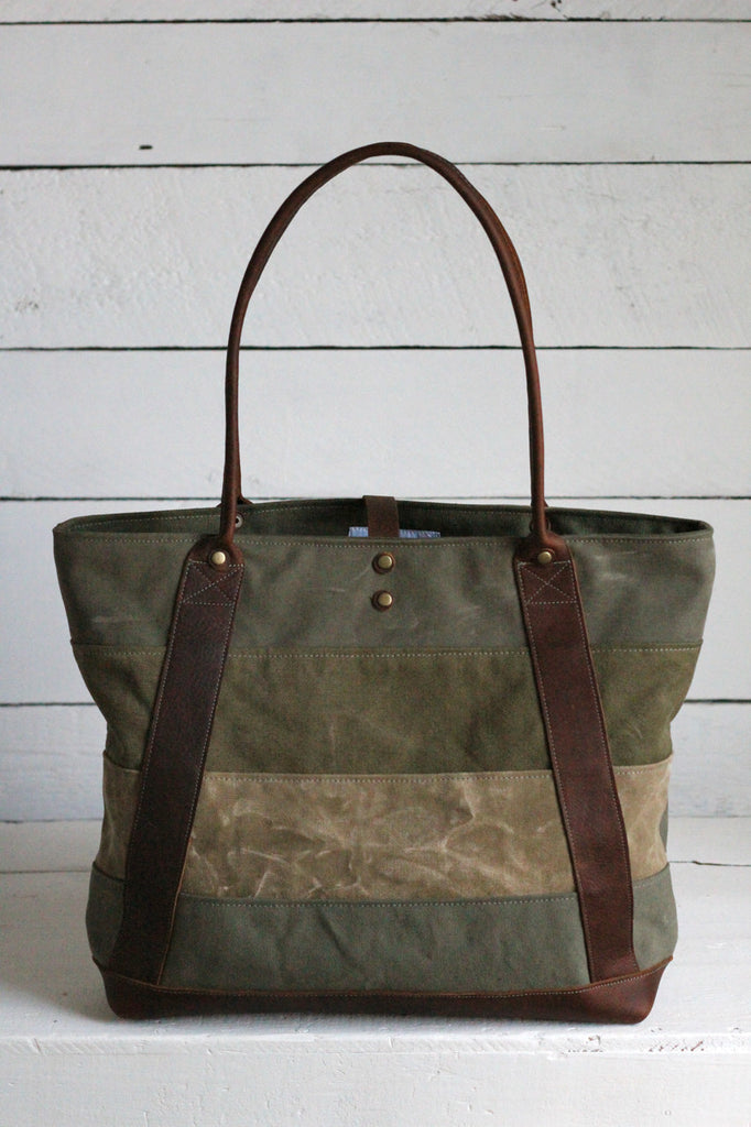 WWII era Striped Canvas and Leather Carryall