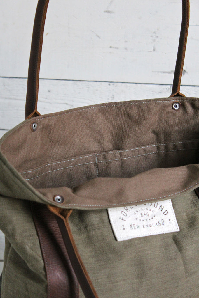 World War 1 era Canvas Carryall with 1920's era Denim Apron Pocket