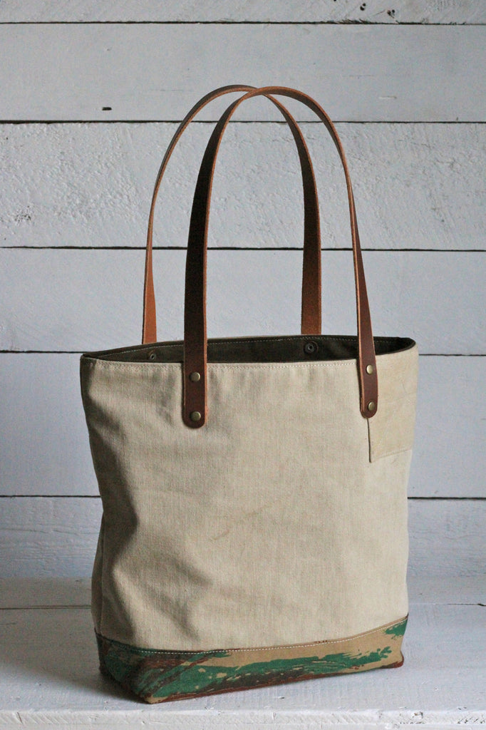 WWII era Canvas & Lizard Camo Tote Bag