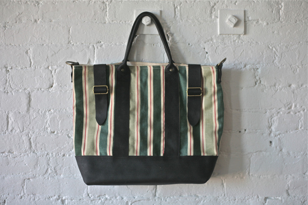 1940's era Ticking Fabric Weekend Bag
