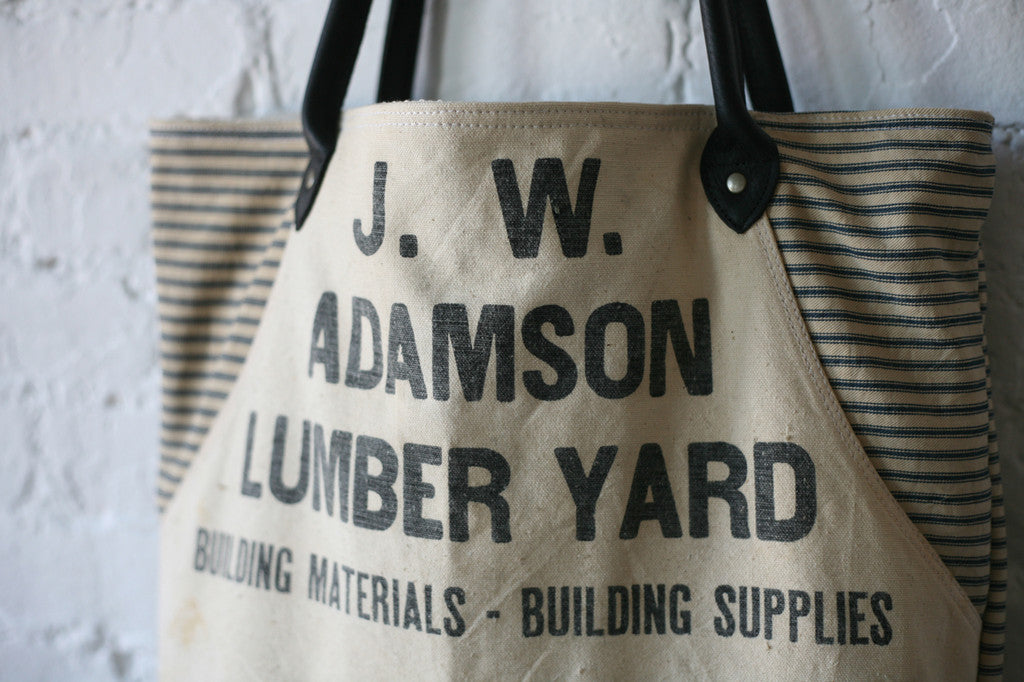1930's era Ticking Fabric & 1940's era Work Apron Carryall - SOLD