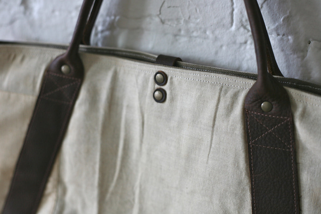1930's era Apron & Leather Weekend Bag