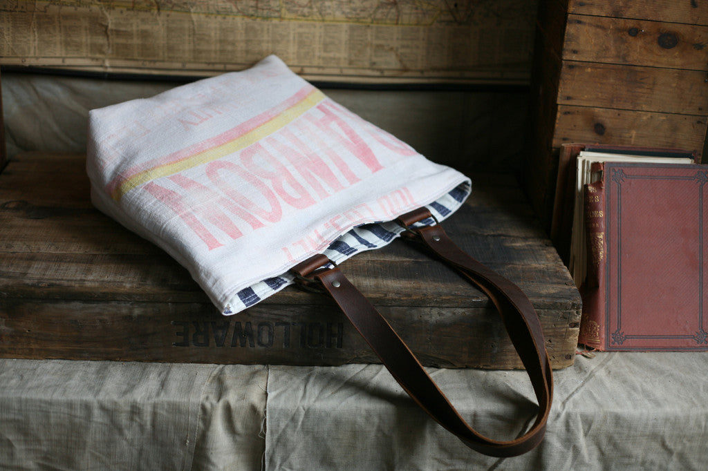 1940's era Feedsack Tote Bag - SOLD